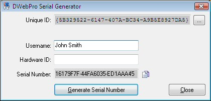 The DWebPro Serial Generator Software